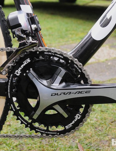 The Dura-Ace crankset is fitted with Rotor's oval Q rings in Vos's favoured 38/46t combination