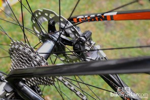 The rear hub's largely conventional looks, with 28 J-bend spokes