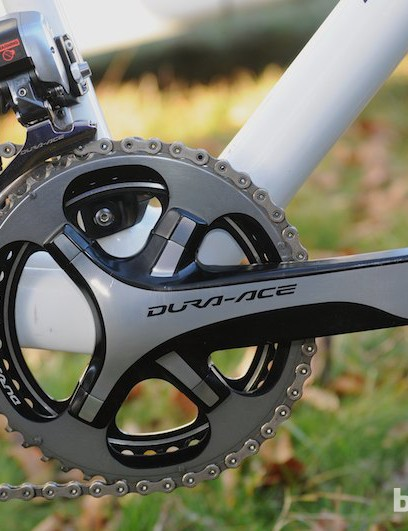 A standard Dura Ace 9000 chainset with 172.5mm cranks and 39/46 tooth rings