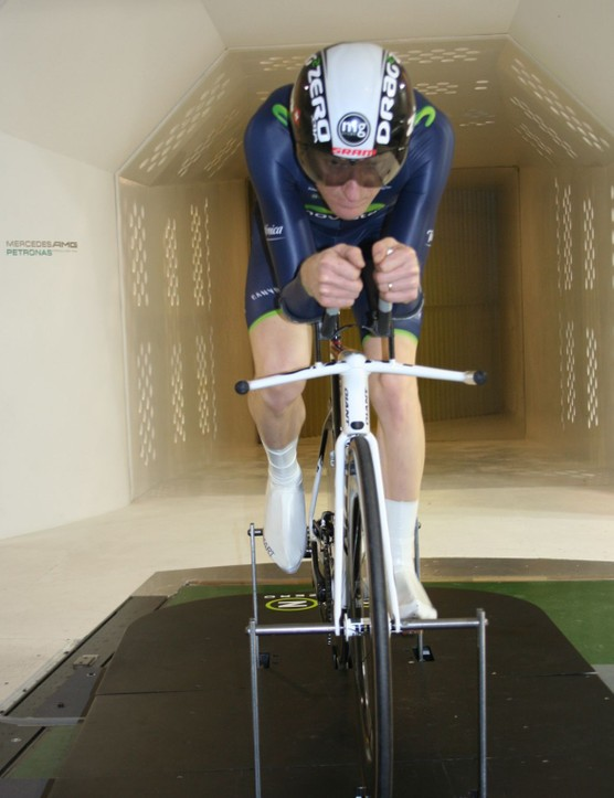 Drag2Zero rider Matt Bottrill models the Endura-Drag2Zero Movistar skinsuit in the wind tunnel