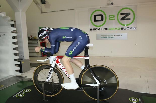 Drag2Zero rider Matt Bottrill models the Endura-Drag2Zero Movistar skinsuit in the wind tunnel