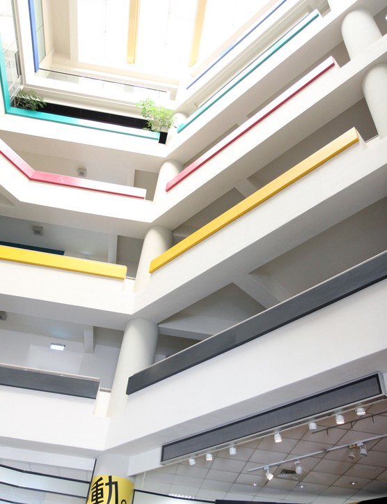 The bright, airy, and colorful main lobby of the Giant factory in Taichung, Taiwan
