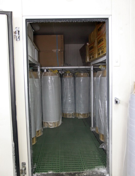 Finished pre-preg carbon fibre sheets are stored in a freezer to keep the epoxy from curing