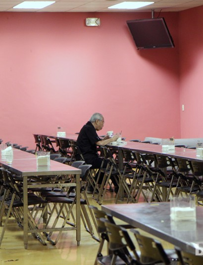 Even Giant company chairman King Liu eats in the same cafeteria as the factory workers. He arrived late, though, so he enjoyed a quiet meal to himself