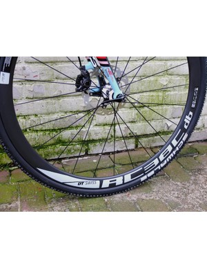 The DT Swiss RC38C db wheels are disc brake (db) specific, and the C designates that they're carbon clinchers, here fitted with Schwalbe Racing Ralph tyres