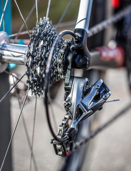 The rear derailleur cable makes a clean exit through the drive-side seatstay