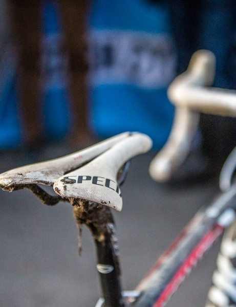 Stybar rides a Specialized S-Works Toupe saddle