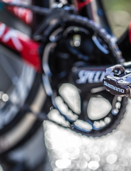 Shimano M540 pedals may not as light as the XTR version, but many cyclocross racers choose them for their superior mud-shedding ability