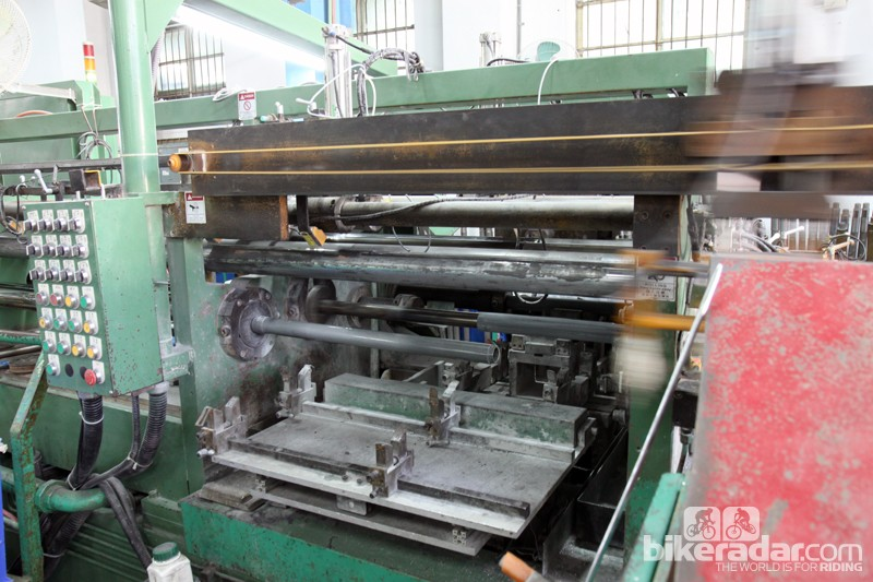 Giant receives raw aluminum tubing into its Taichung, Taiwan factory from another Giant facility that smelts its own alloys. All of the butting, shaping, and drawing is done here in-house