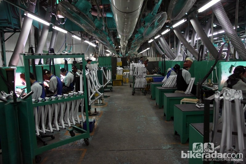 Giant has a veritable army of welders on hand in its Taiwan factory