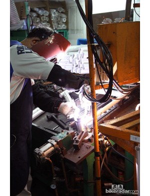 Various jigs are used for the initial tack welding