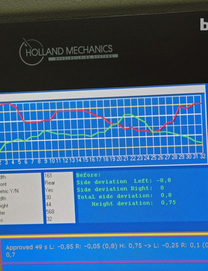 A computer readout displays the actual measurements for the wheel being built. Note the timer at lower right