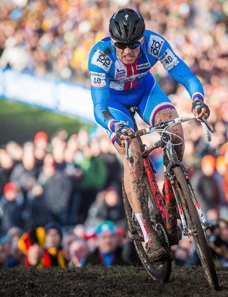Zdenek Stybar powered his Specialized S-Works CruX from close to the back of the pack to battle Sven Nys for the victory at this years cyclocross world championship