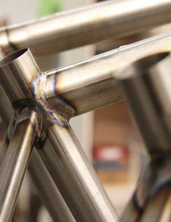Although Mosaic is best known for its work in titanium, head welder Aaron Barcheck clearly is adept with thin-walled chromoly steel, too