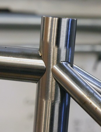 A steel hardtail frame tacked up and ready for final welding