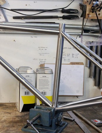 Mosaic is building this steel 650b hardtail as a co-branding display with fi'zi:k for NAHBS