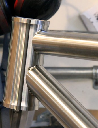 Titanium head tubes are machined in-house