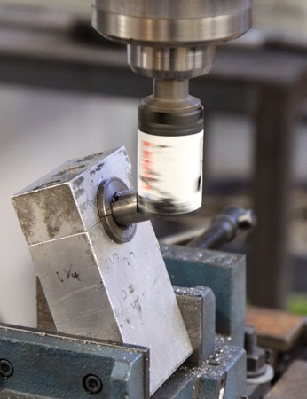 A seat stay bridge in the process of being mitered