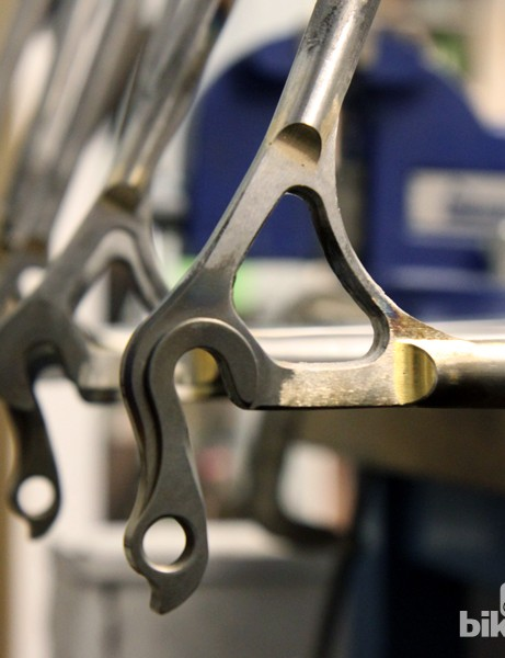 Steel dropouts are neatly brazed on the stays of these Mosaic show bikes