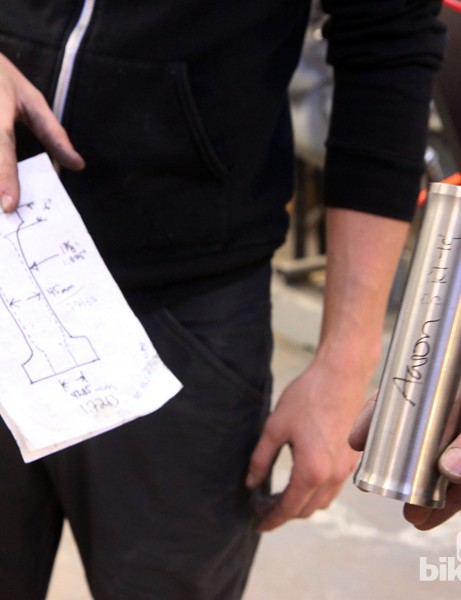 Titanium head tubes are internally and externally machined in-house. The drawing at left perhaps isn't the most impressive looking but the numbers are sound