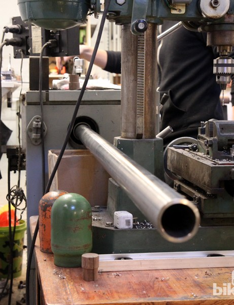 Mosaic purchases its head tube stock in long tubes that are eventually milled down as needed