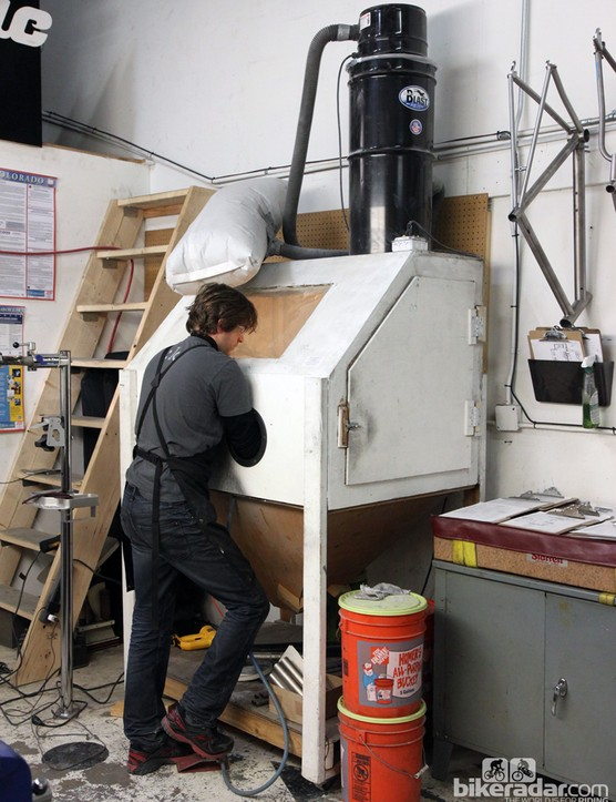 Mosaic founder Aaron Barcheck has no problem seeing into the media blasting chamber he built for himself when he started the company five years ago. Unfortunately, though, not everyone who works for Mosaic now is that tall