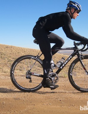 With the IsoSpeed decoupler effectively doubling the vertical deflection (read: seatmast/seat tube flex) of the bike, the Domane can cruise all day on washboard dirt roads