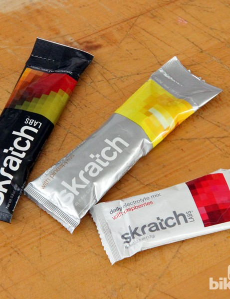 The lower salt content of the new Skratch Labs Daily Electrolyte mix (bottom) is reflected in the smaller package size