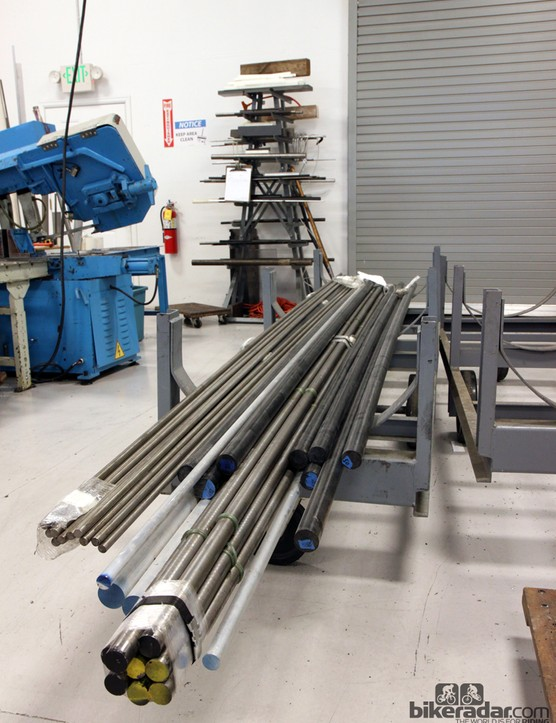 Virtually all of the aluminum and Delrin raw materials that Wheels Manufacturing receives comes in bar or rod form. Materials are bought by weight so careful forecasting is a must so as to ensure that there isn't more money tied up in inventory than is needed
