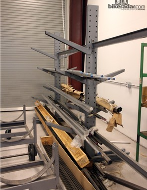 Incoming materials are sorted on various racks