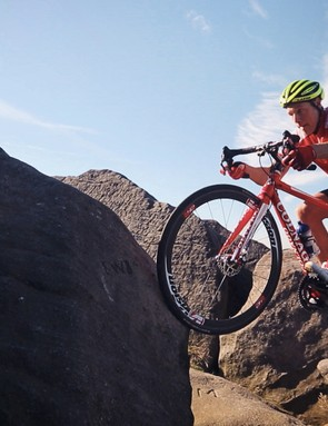 Akrigg prepares to lunge – a move that would trouble many riders on Trials bikes!