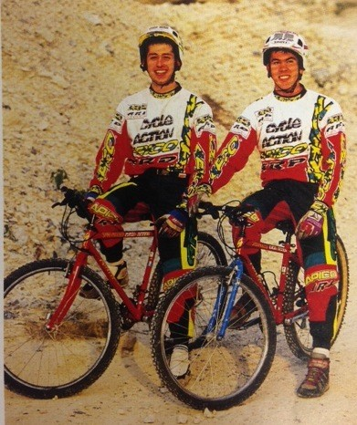 Martin Hawyes (left) and Martyn Ashton (right) as young Trials riders – this is when they kickstarted the movement.