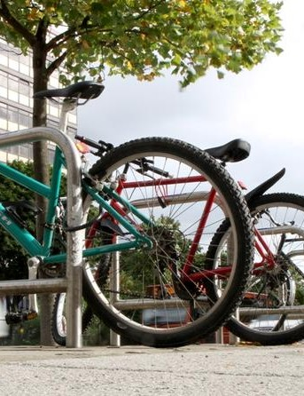 Bikes locked up in Nottingham