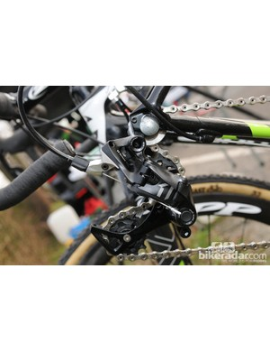 The SRAM CX1 group was installed on a few riders' bikes. Not yet released, the single-ring or