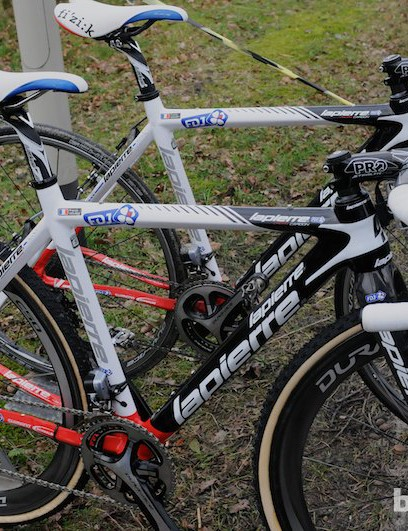 Perennial top French performer Francis Mourey's Lapierre bikes - one set up for the road, and one for practice