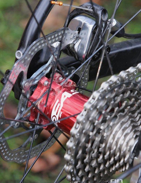 Wyman's disc brake-equipped bikes use different TRP calipers; this one had the Spyre