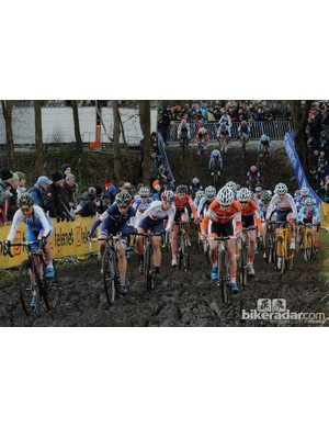 Hitting the mud for the first time was the last time any rider was ahead of the dominant Marianne Vos