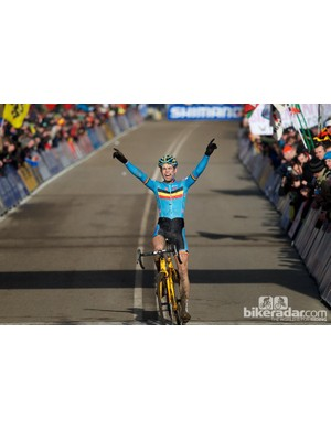 Van Aert beat his compatriot Michael Vanthourenhout by 50 seconds, allowing him plenty of time to celebrate