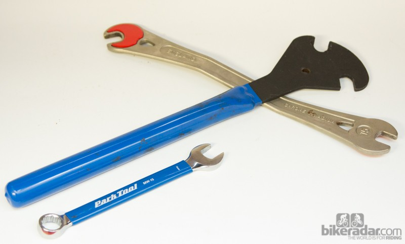 Removing pedals is all about leverage - see a standard size 15mm spanner against a professional pedal wrench. A pedal wrench is also narrower to fit the often tight space between the pedal and crank arm