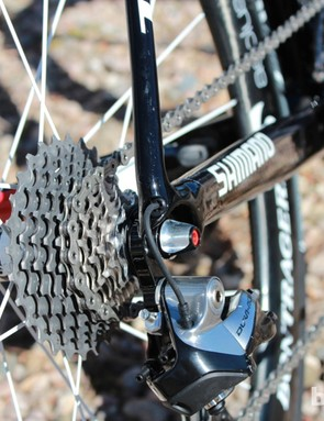 Internal routing keeps aesthetics clean with the Shimano Dura-Ace Di2 9070