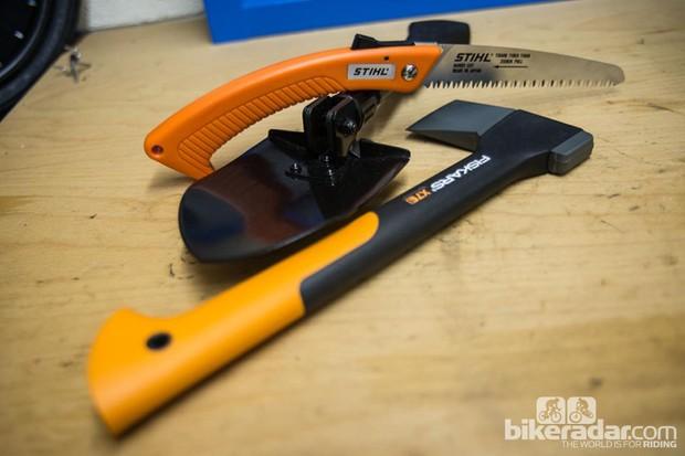 Trail tools: Stihl Folding Saw, Fiskars X7 Axe, Gerber Spade