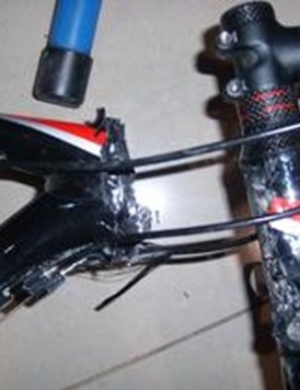 A fake Specialized frame, sheered at the head tube