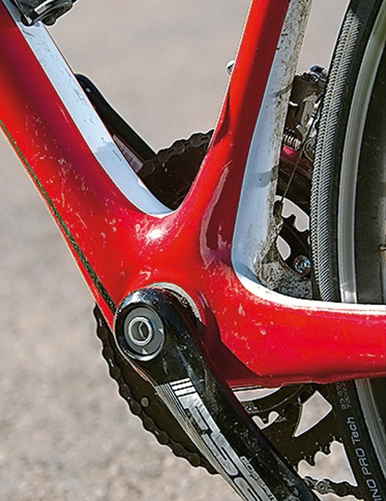 The BB30 bottom bracket improves power delivery