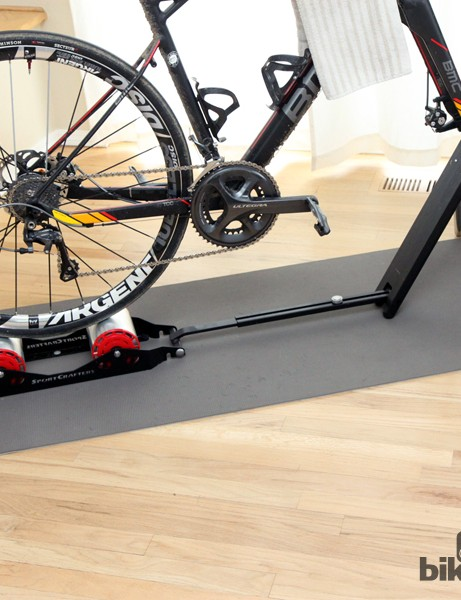 The unique folding frame is reasonably stable for general spinning and on-site warm-ups but not enough for truly grueling indoor workouts