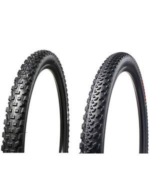 The Specialized Ground Control 27.5x2.1in (left) and the S-Works Fast Trak 27.5x2.0in (right)