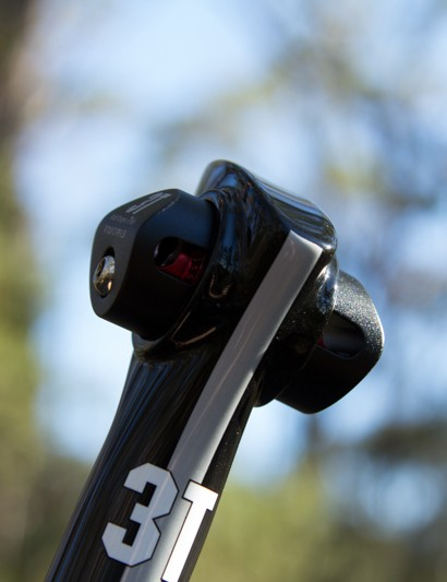The 3T Ionic LTD seatpost has an aggressive aesthetic