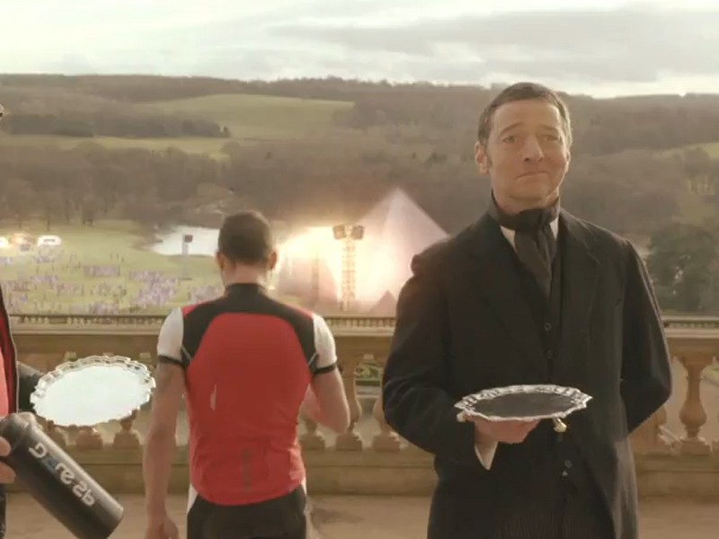 Ned Boulting as a triumphant butler in the Dare2b Yorkshire Festival of Cycling promo video