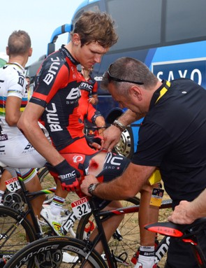 Tejay van Garderen (BMC) getting checked out after an encounter with the road