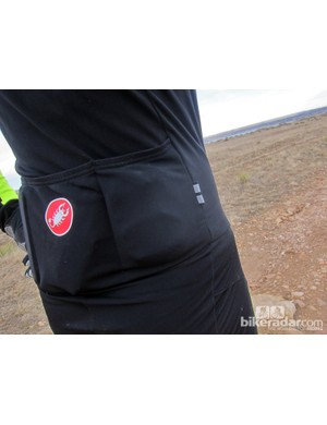 Three conventional rear pockets lend reasonable storage capacity. Don't fret over what appears to be a baggy fit either. When you're hunched over the bars, everything snugs up nicely although we still wished for a slightly tighter fit through the lower back and butt