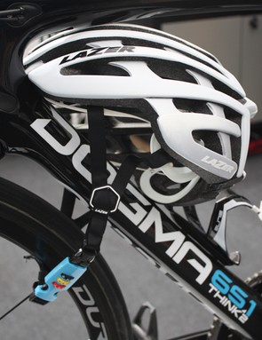 The Cappuccino helmet lock uses a preset 3 digit code to secure your lid to your bike